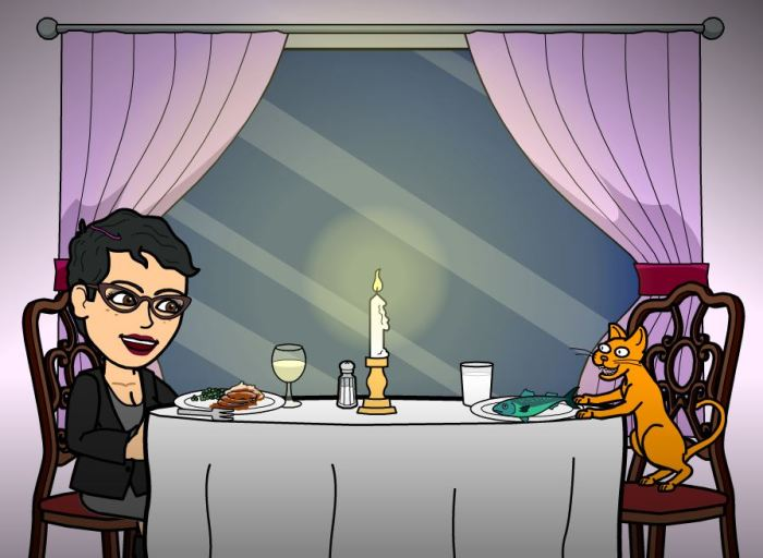 Gia and her cat enjoy a dinner for two.