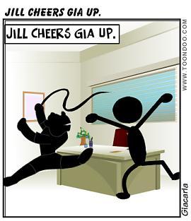 Jill cheers Gia up.